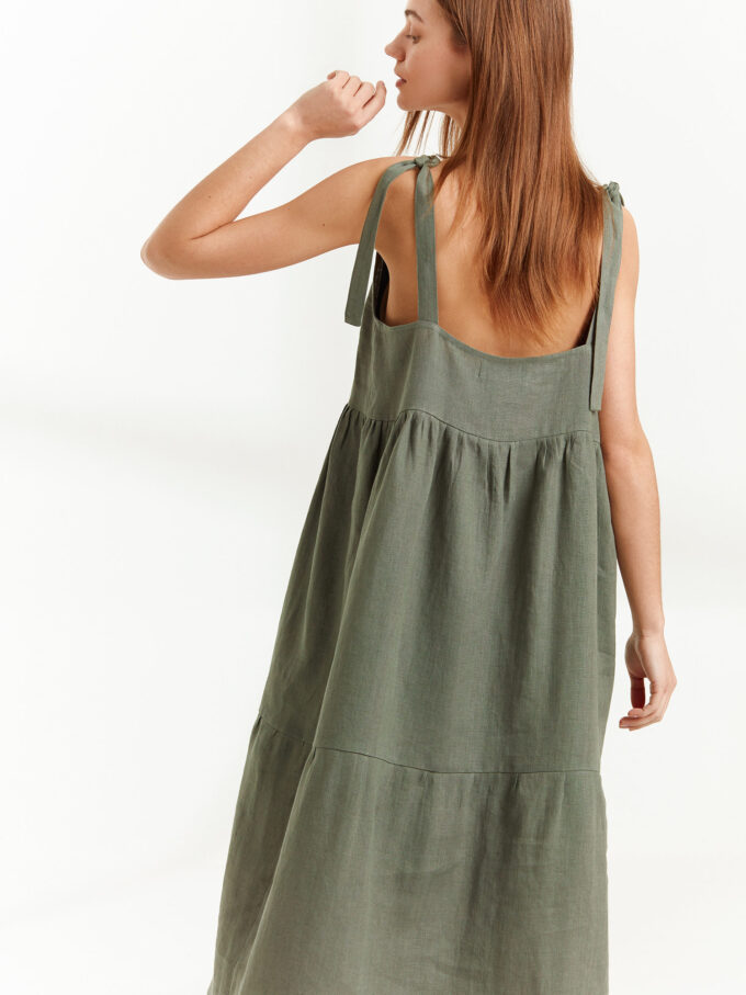 Image 1 of BERRY Linen Strap Dress in Sage Green from Love and Confuse