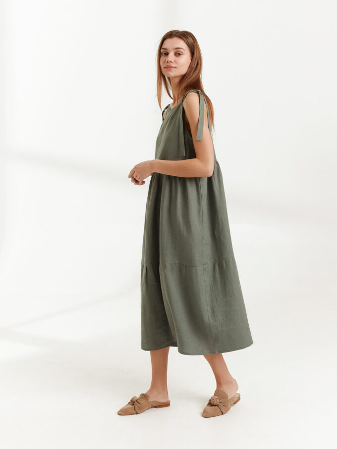 Image 2 of BERRY Linen Strap Dress in Sage Green from Love and Confuse