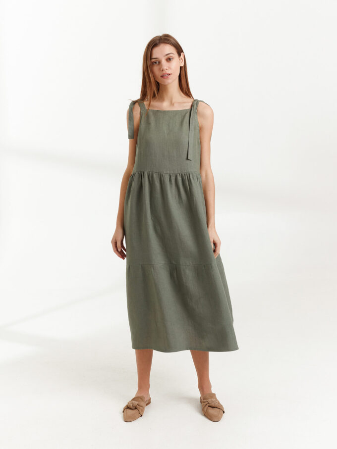 Image 3 of BERRY Linen Strap Dress in Sage Green from Love and Confuse