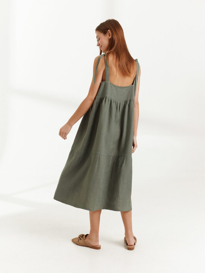 Image 4 of BERRY Linen Strap Dress in Sage Green from Love and Confuse
