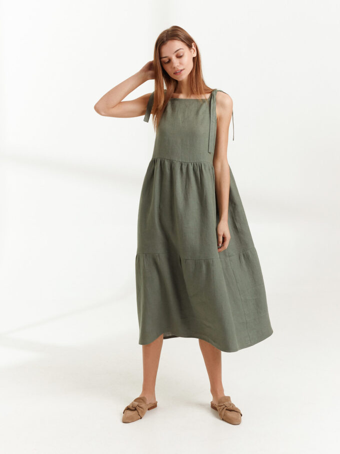 Image 5 of BERRY Linen Strap Dress in Sage Green from Love and Confuse