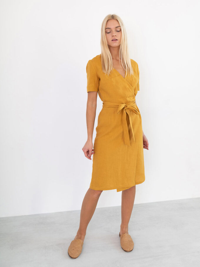Image 1 of BRIGITTE Linen Wrap Dress in Mustard from Love and Confuse