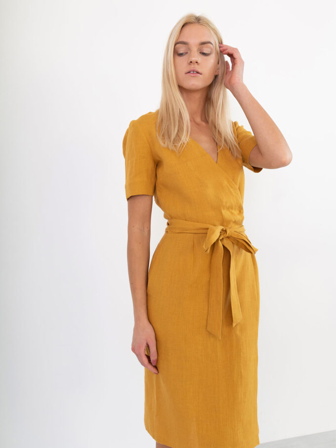 Image 3 of BRIGITTE Linen Wrap Dress in Mustard from Love and Confuse
