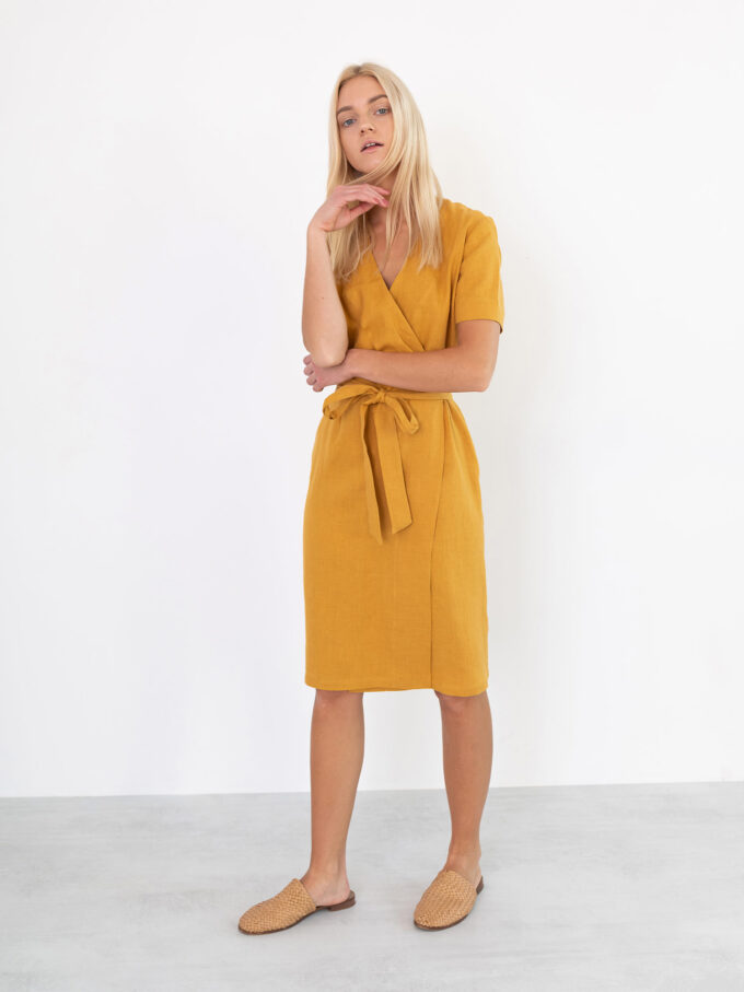 Image 4 of BRIGITTE Linen Wrap Dress in Mustard from Love and Confuse