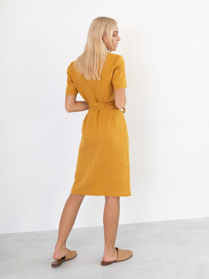 Image 5 of BRIGITTE Linen Wrap Dress in Mustard from Love and Confuse