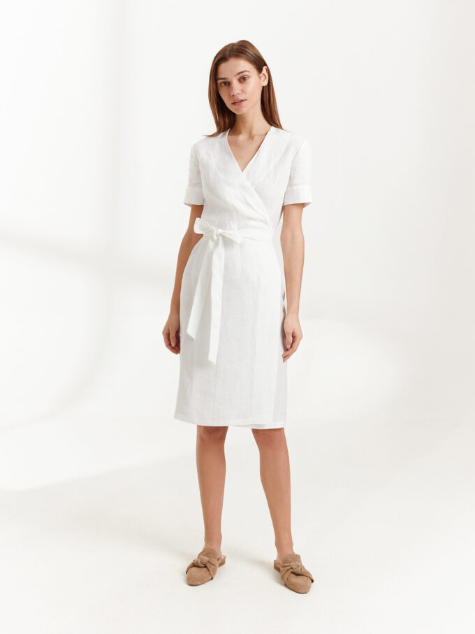 Image 4 of BRIGITTE Linen Wrap Dress in White from Love and Confuse