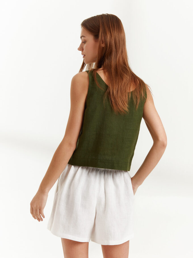Image 5 of CALI Linen Tank Top in Forest Green from Love and Confuse