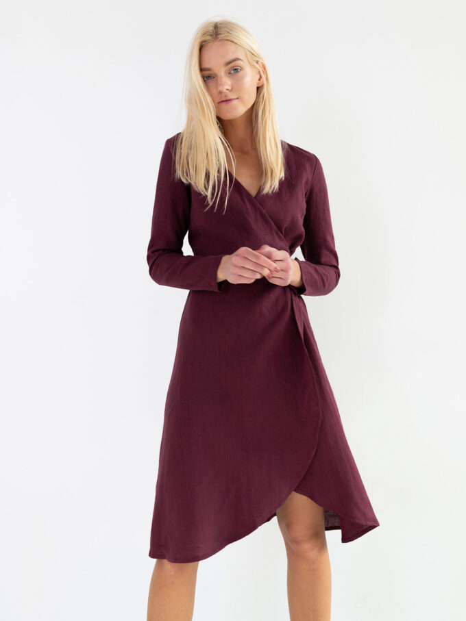 Image 1 of CLAUDIA Linen Wrap Dress in Eggplant from Love and Confuse