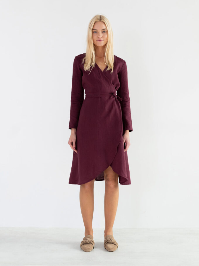 Image 2 of CLAUDIA Linen Wrap Dress in Eggplant from Love and Confuse