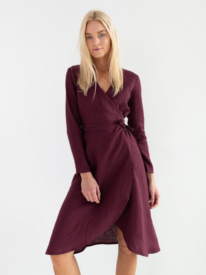 Image 3 of CLAUDIA Linen Wrap Dress in Eggplant from Love and Confuse