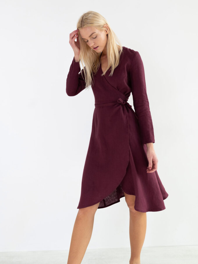Image 4 of CLAUDIA Linen Wrap Dress in Eggplant from Love and Confuse