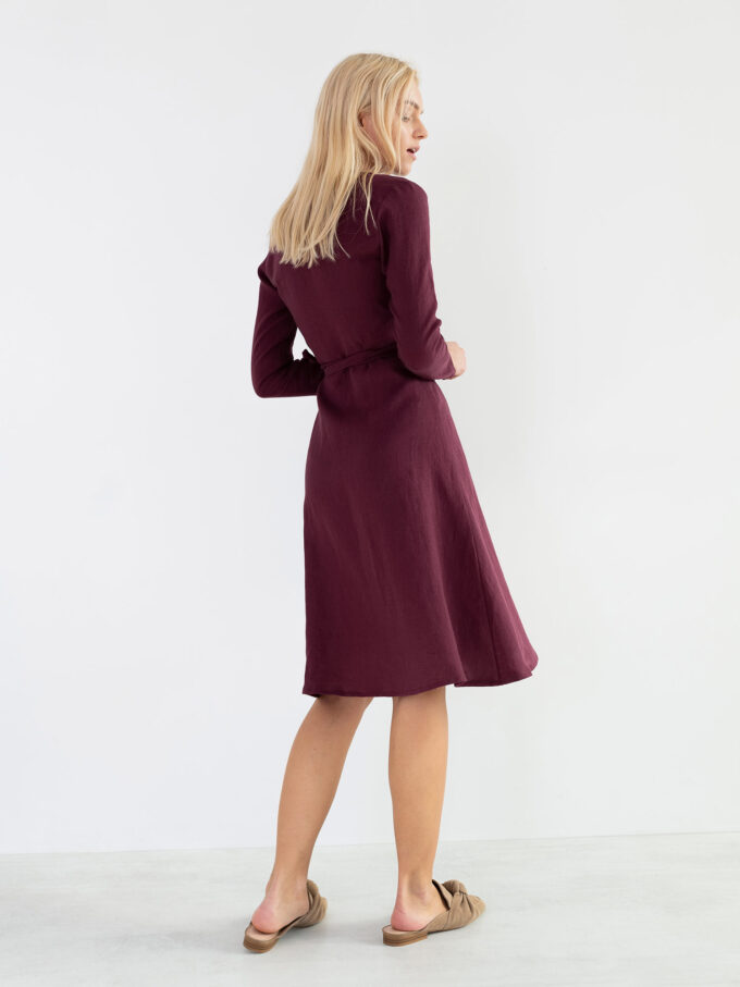 Image 5 of CLAUDIA Linen Wrap Dress in Eggplant from Love and Confuse