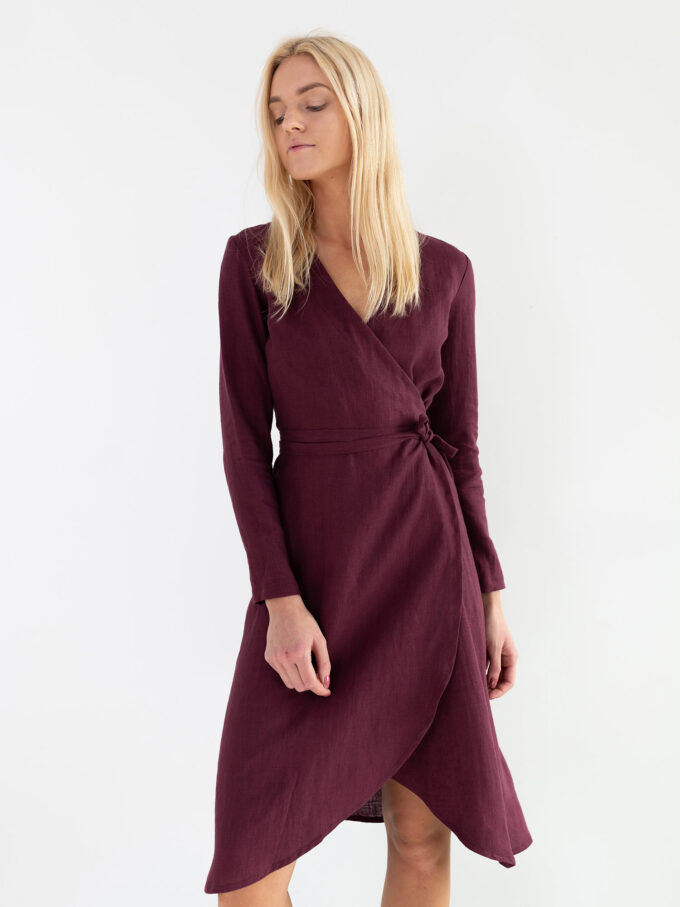 Image 6 of CLAUDIA Linen Wrap Dress in Eggplant from Love and Confuse