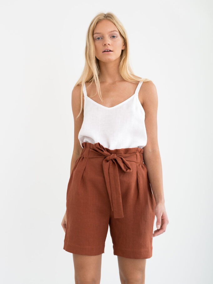 Image 1 of CORA Linen Shorts in Rust from Love and Confuse