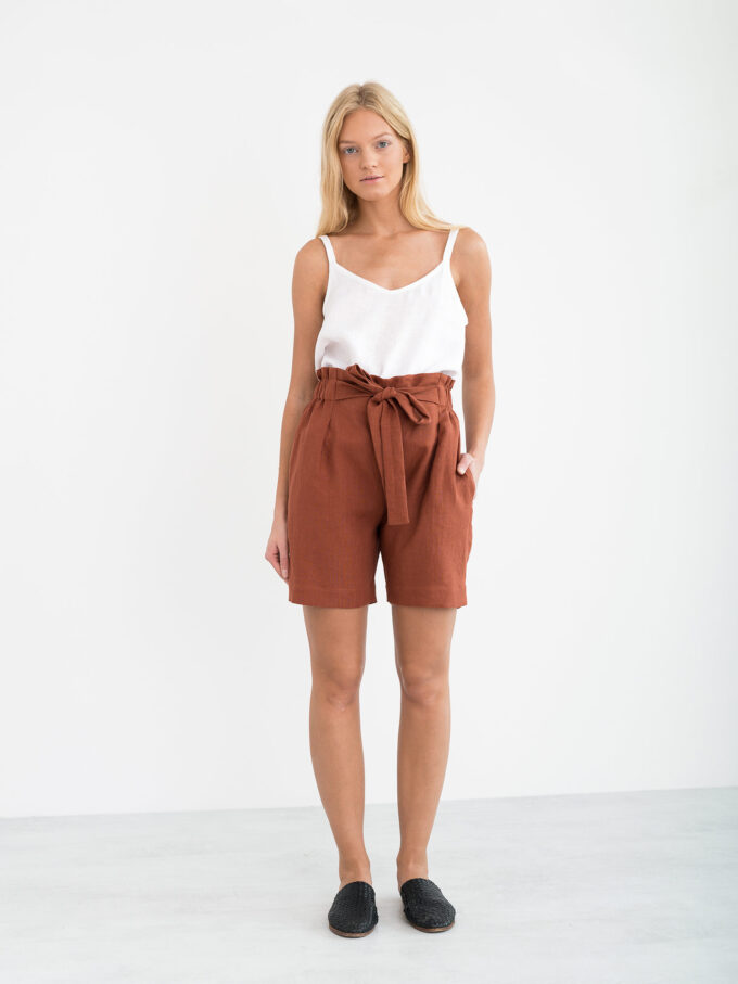 Image 2 of CORA Linen Shorts in Rust from Love and Confuse