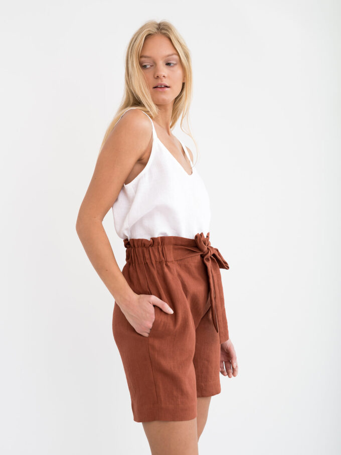 Image 3 of CORA Linen Shorts in Rust from Love and Confuse