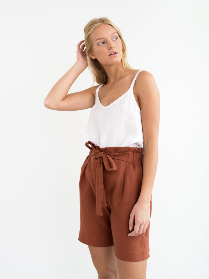 Image 5 of CORA Linen Shorts in Rust from Love and Confuse