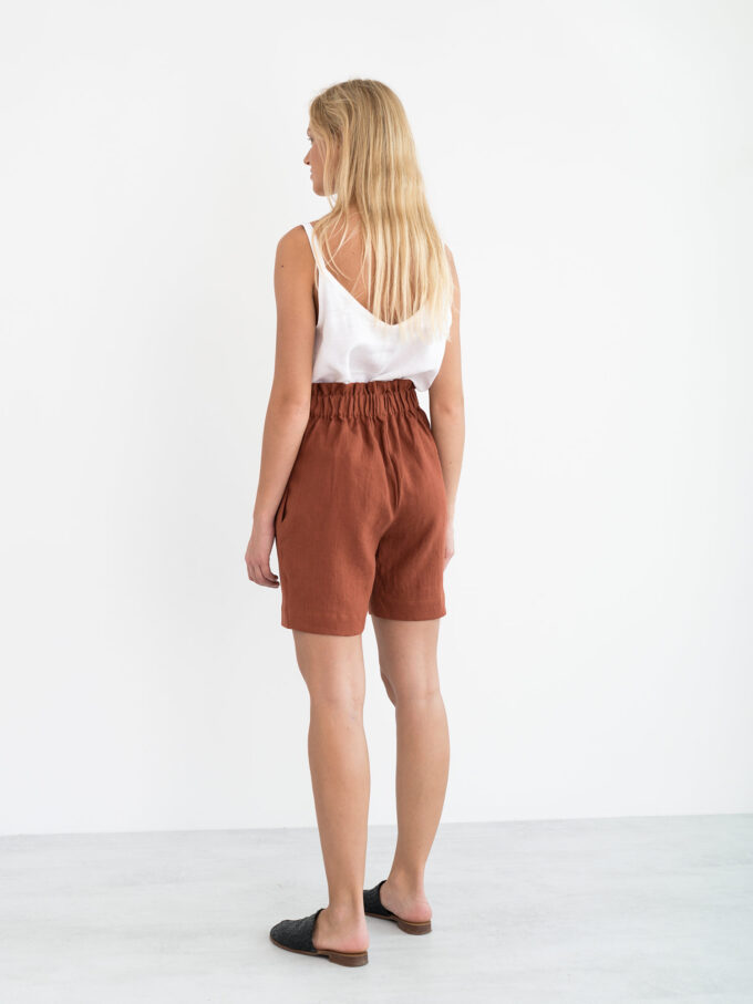 Image 6 of CORA Linen Shorts in Rust from Love and Confuse