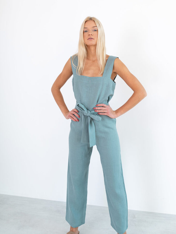 Image 1 of DAKOTA Linen Jumpsuit in Dark Turquoise from Love and Confuse