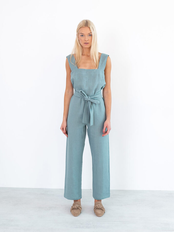 Image 2 of DAKOTA Linen Jumpsuit in Dark Turquoise from Love and Confuse