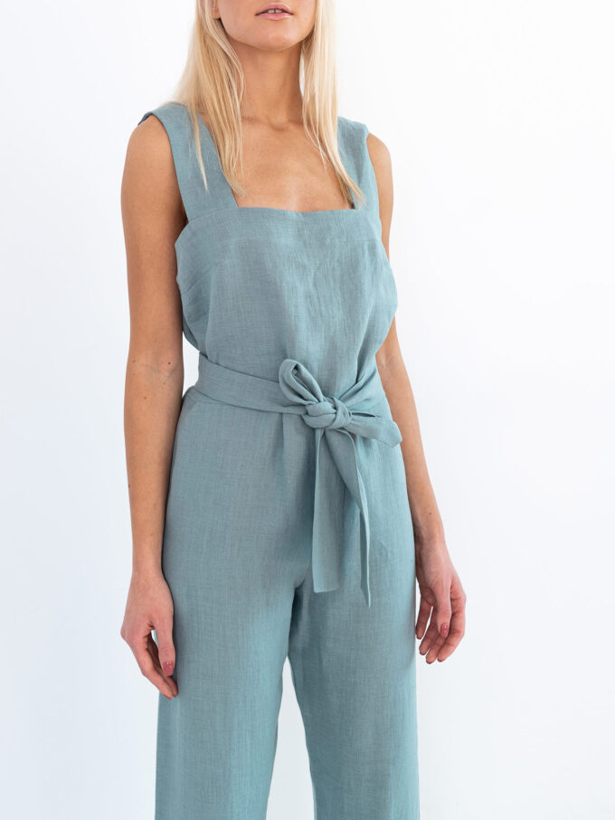 Image 3 of DAKOTA Linen Jumpsuit in Dark Turquoise from Love and Confuse