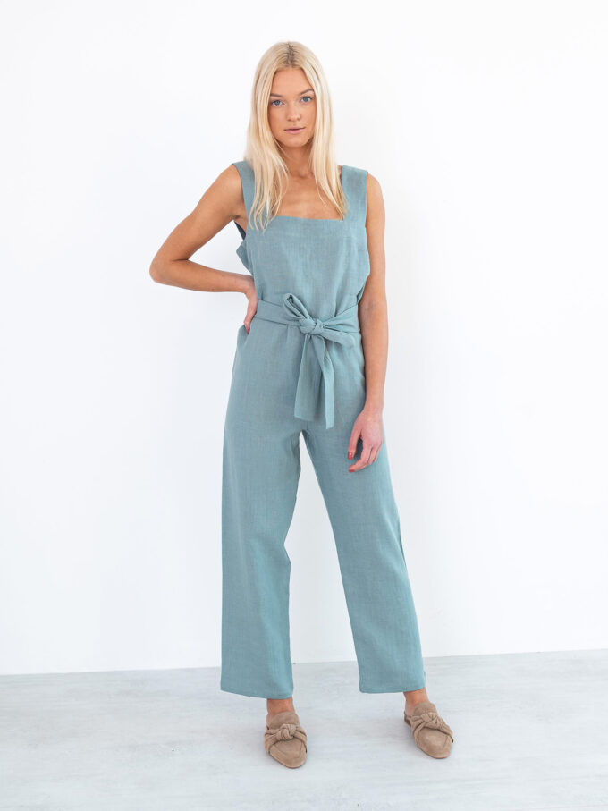 Image 4 of DAKOTA Linen Jumpsuit in Dark Turquoise from Love and Confuse