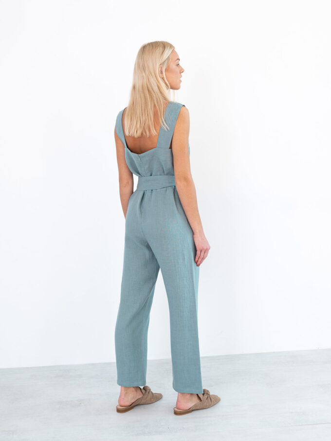 Image 5 of DAKOTA Linen Jumpsuit in Dark Turquoise from Love and Confuse