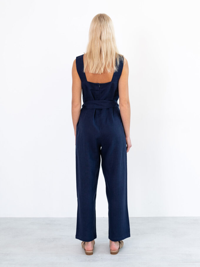 Image 5 of DAKOTA Linen Jumpsuit in Navy Blue from Love and Confuse