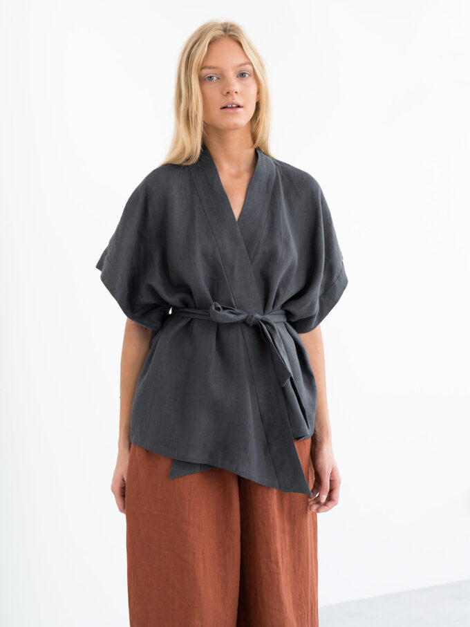 Image 1 of ELI Linen Kimono Top in Dark Grey from Love and Confuse