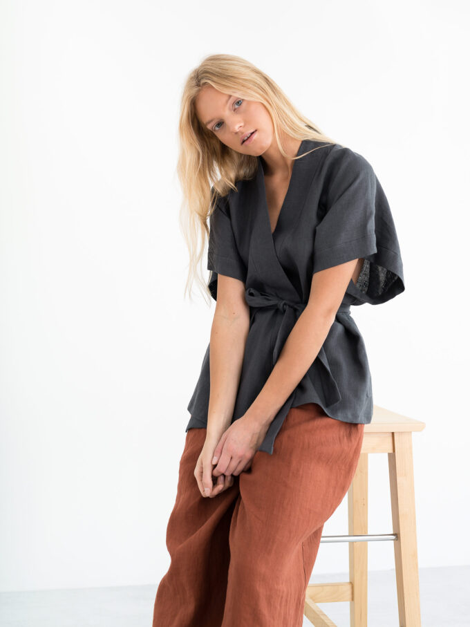 Image 5 of ELI Linen Kimono Top in Dark Grey from Love and Confuse