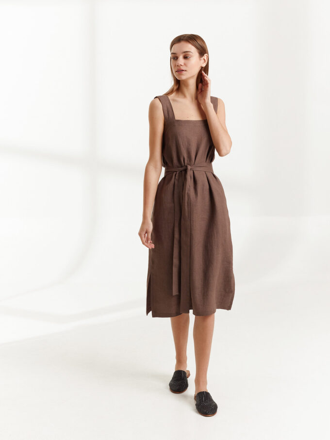 Image 5 of ELLIDY Wide Strap Linen Dress in Cocoa from Love and Confuse