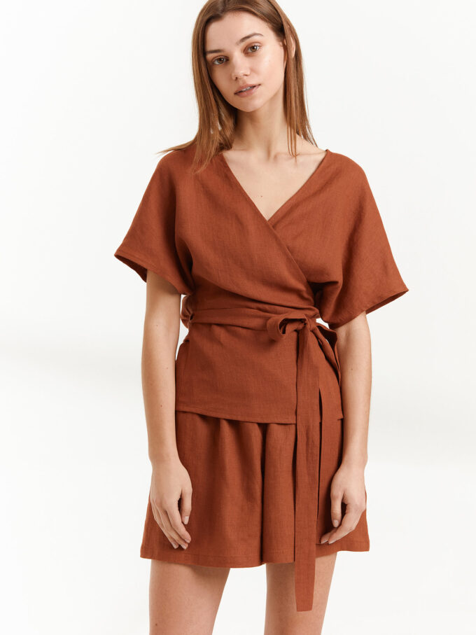 Image 1 of EVIE Linen Wrap Top in Rust from Love and Confuse