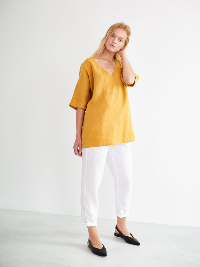 Image 1 of FLORENCE Linen Top in Mustard from Love and Confuse