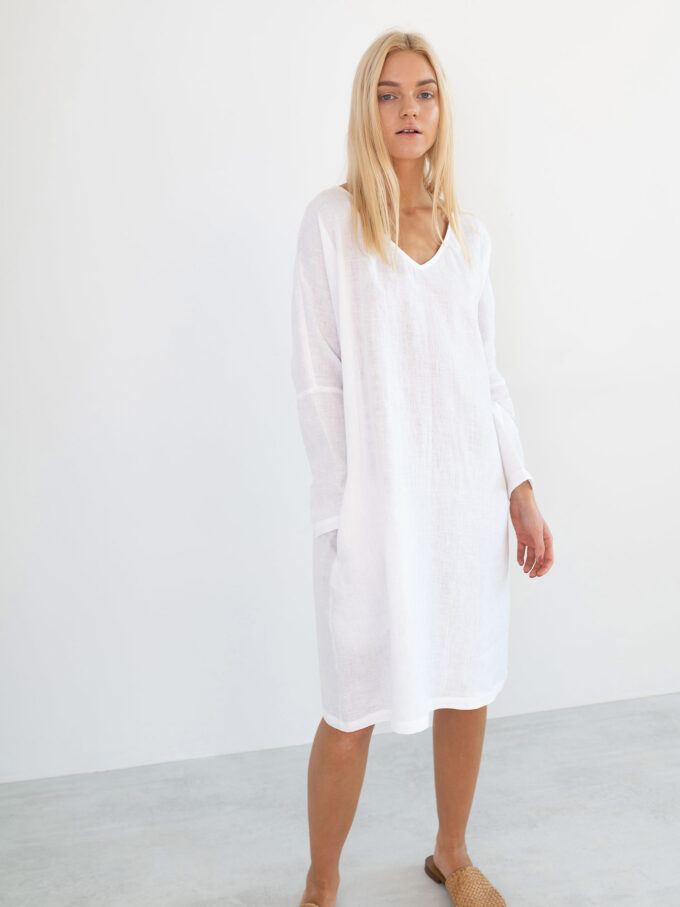 Image 1 of FRIDA Long Sleeve Linen Dress in White from Love and Confuse