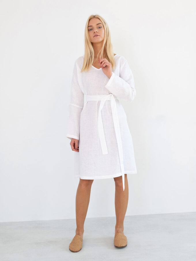 Image 4 of FRIDA Long Sleeve Linen Dress in White from Love and Confuse