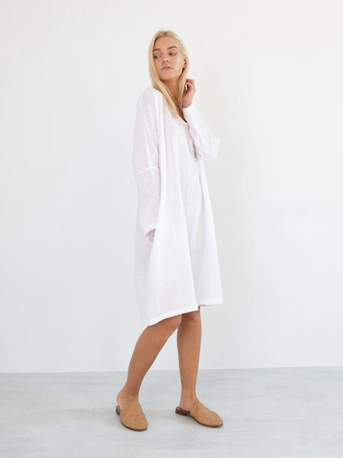 Image 5 of FRIDA Long Sleeve Linen Dress in White from Love and Confuse