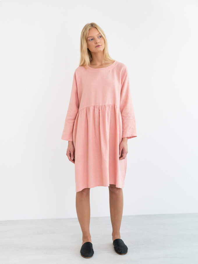 Image 1 of HARLOW Long Sleeve Linen Dress in Pink Spanish from Love and Confuse