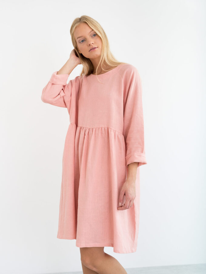 Image 2 of HARLOW Long Sleeve Linen Dress in Pink Spanish from Love and Confuse