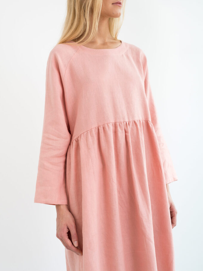 Image 3 of HARLOW Long Sleeve Linen Dress in Pink Spanish from Love and Confuse