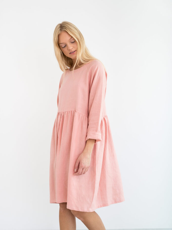 Image 4 of HARLOW Long Sleeve Linen Dress in Pink Spanish from Love and Confuse