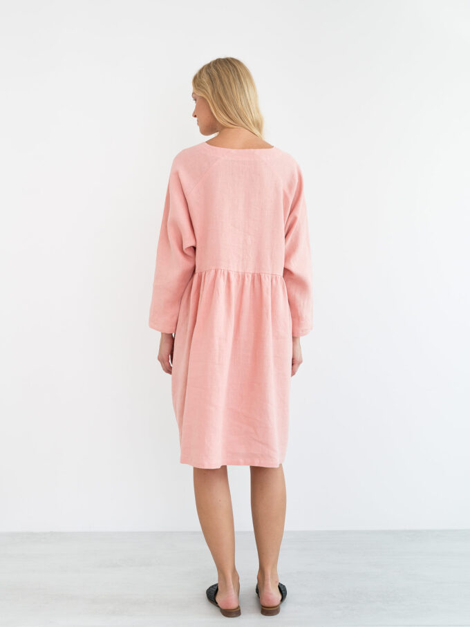 Image 5 of HARLOW Long Sleeve Linen Dress in Pink Spanish from Love and Confuse