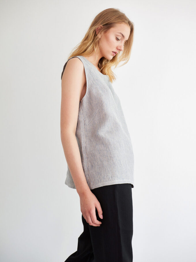 Image 1 of HARPER Linen Tank Top in Stripe from Love and Confuse