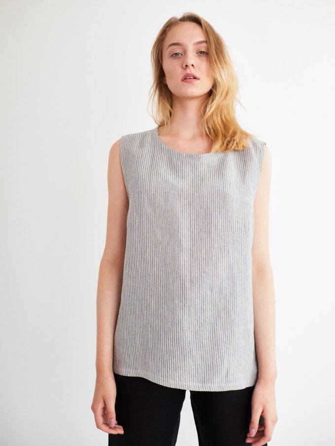 Image 2 of HARPER Linen Tank Top in Stripe from Love and Confuse