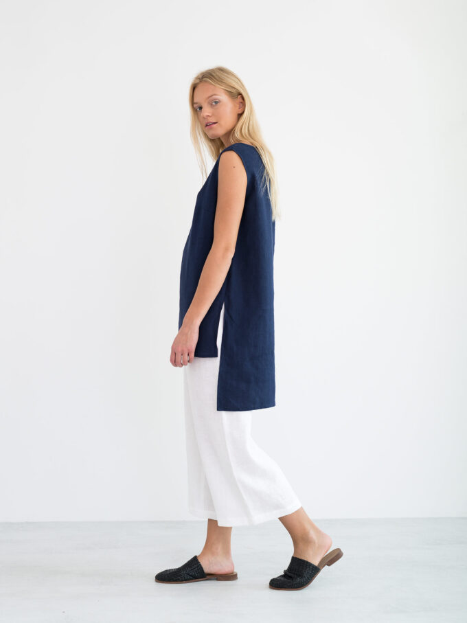Image 1 of HEATHER Linen Tunic Top in Navy Blue from Love and Confuse