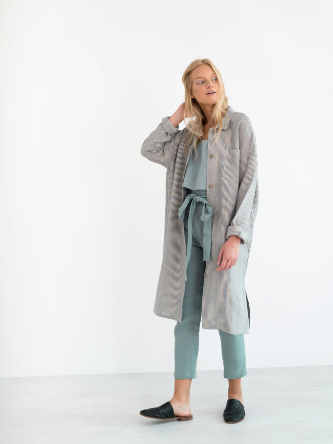 Image 3 of IRIS Linen Shirt Dress in Stripe from Love and Confuse