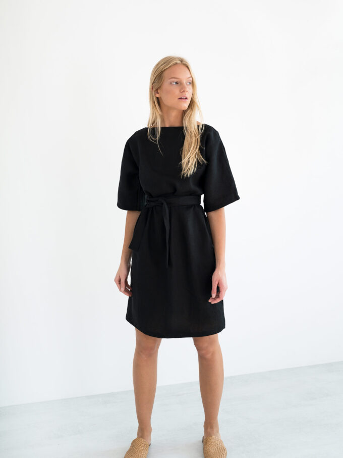 Image 1 of ISABEL Linen Dress in Black from Love and Confuse