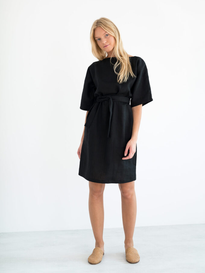 Image 2 of ISABEL Linen Dress in Black from Love and Confuse