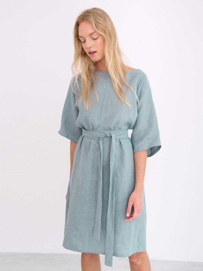 Image 2 of ISABEL Linen Dress in Dark Turquoise from Love and Confuse