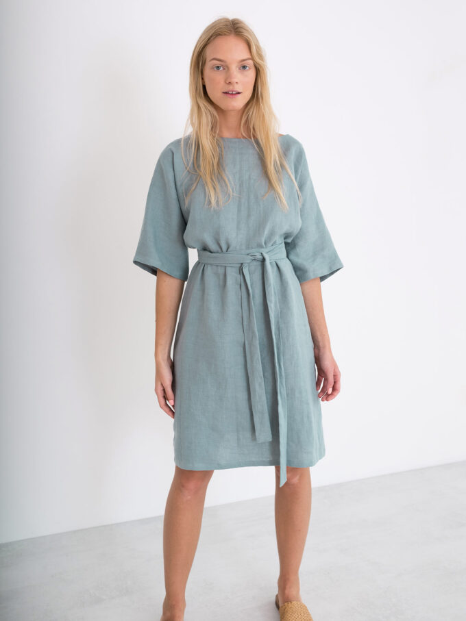 Image 3 of ISABEL Linen Dress in Dark Turquoise from Love and Confuse