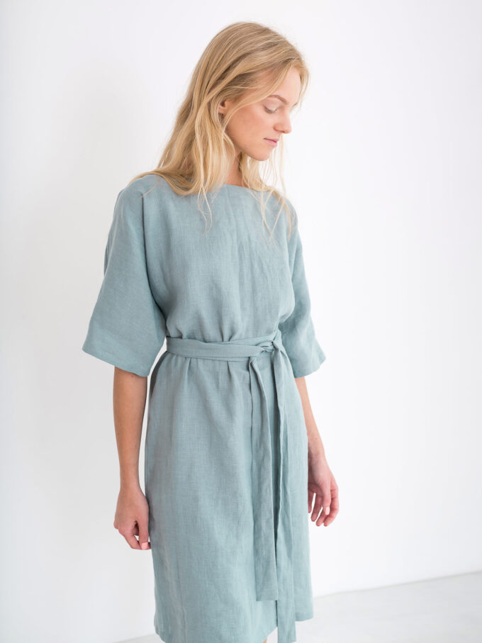 Image 4 of ISABEL Linen Dress in Dark Turquoise from Love and Confuse